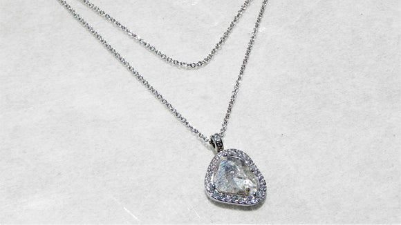 White Gold Slice Diamond Necklace