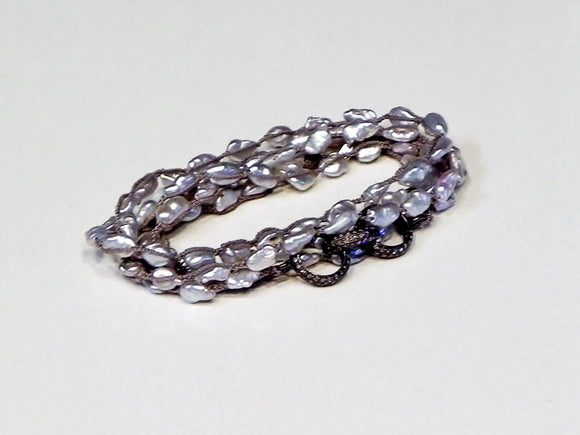 One Love Wrap Platinum Pearls and Pave Diamonds