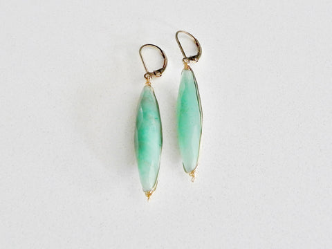 Green Aventurine Tube Earrings