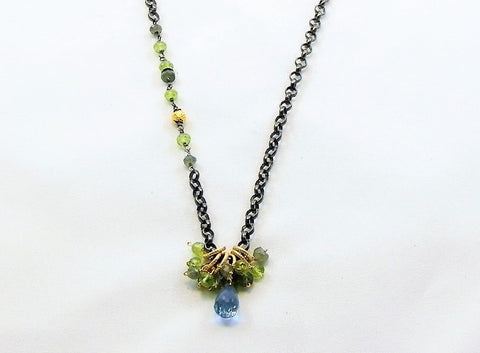 Six drops blue topaz necklace
