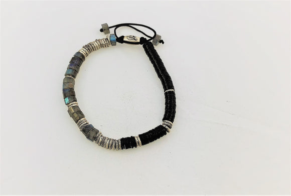 Silver Linings Bracelet- Labradorite and black vinyl.