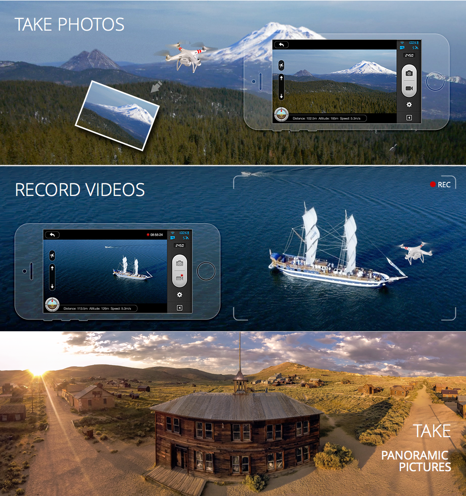 Take Photos, Record Videos and Take Panoramic Pictures with the DJI Phantom 2 Vision from Drones, Etc.