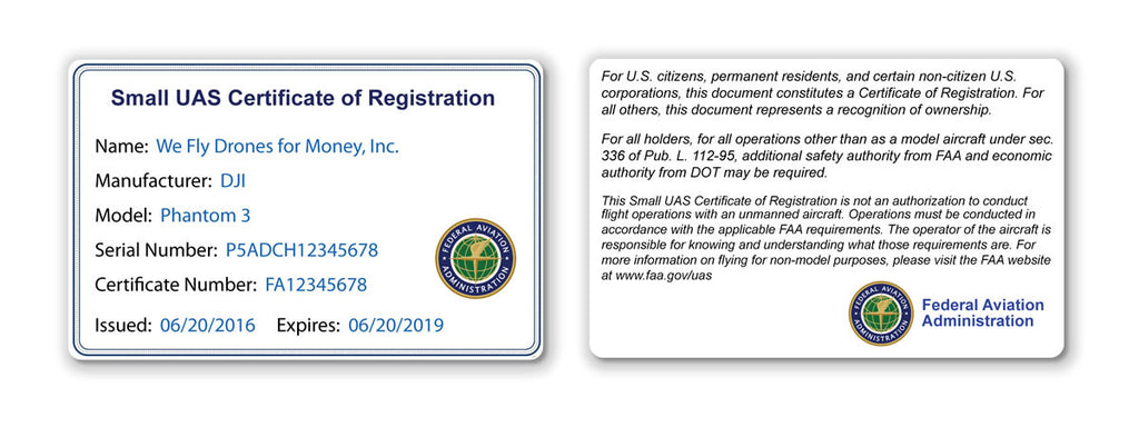 Drone Registration Certificate Card (For Commercial Pilots)