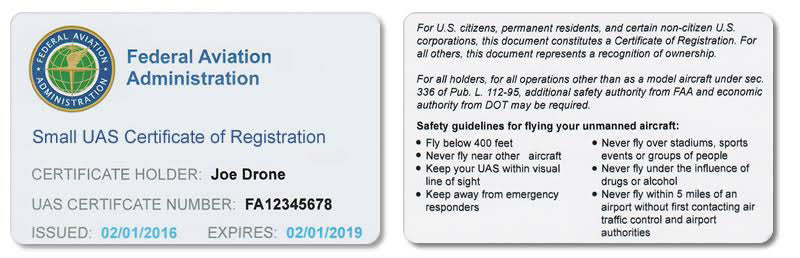 Drone Registration Certificate Card (For Hobbyist Only)