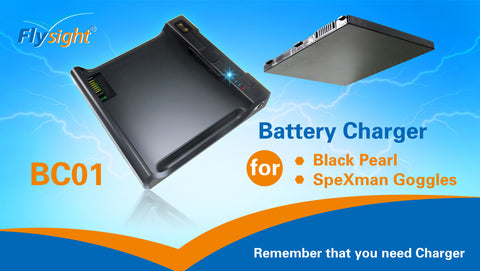 BC01 Battery Charger for Black Pearl Monitor Battery and SpeXman Goggles SPX01.