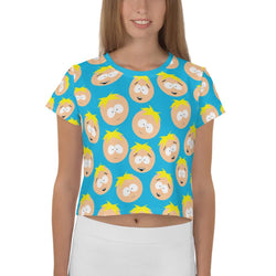 South Park Butters Faces Women's All-Over Print Crop T-Shirt