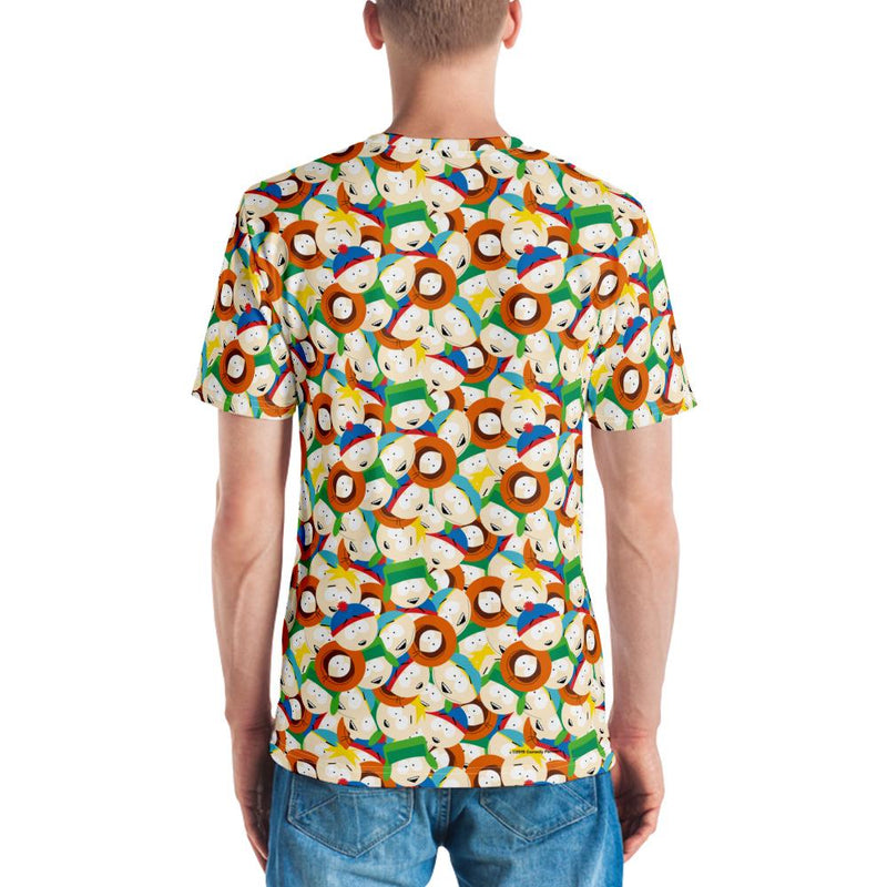 South Park Character Faces Tossed Pattern Adult All-Over Print T-Shirt