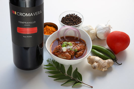 Tempranillo Joven paired with Chicken Curry