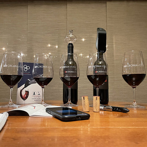 All five pours of Cabernet Sauvignon at various levels of aeration.