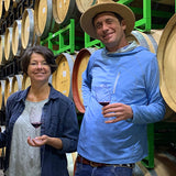 Mindy and Jeremy in the barrel room.