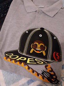 The Emphasis is on the Polo Shirt and its design, other things are just for deco to give the advert a shape. This product Polo shirt comes branded with this professionally embroidered Flat cap on it, just look at the stitching and styling it's out of this world the Chains and the Emoji icon it's all a wow!!, it's a must buy product