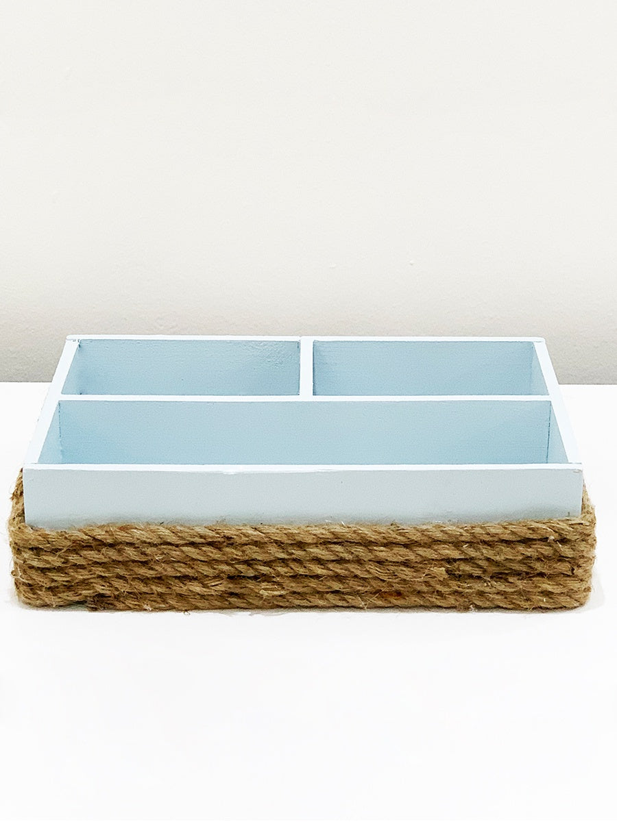 Nautical Burlap Box Blue 1