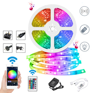 DC12V 10M Non-waterproof DIY 2835 RGB WiFi Smart 600LED Strip Light Work With Alexa Google Home for Home Decor