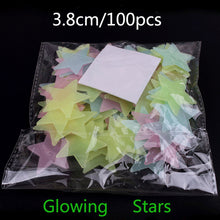 Load image into Gallery viewer, 100Pcs Glow In The Dark Stars  Sticker Beautiful 3D DIY Home Decal Art Luminous Wall Stickers