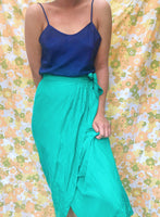 Vintage Silk Faux Wrap Skirt (Fit 8)