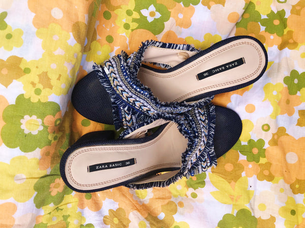 Sparkly Fabric Mules (Size 36)