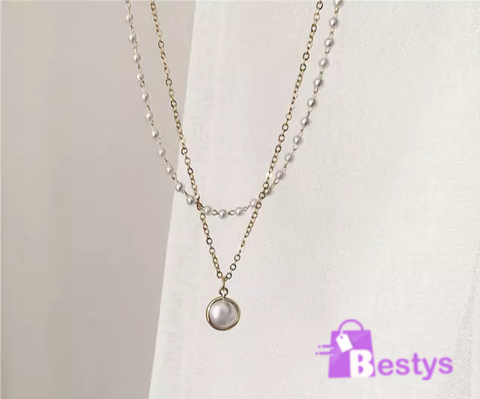Double Layered Gold Plated & Pearl Necklace