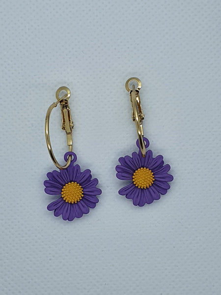 Purple Acrylic Sunflower Earring