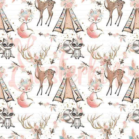 Beautiful deer with big antlers with flowers on, foxes and raccoons also with big eyes and flowers with beautiful teepee's