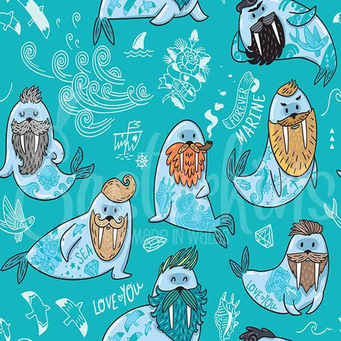 Fun design of walruses with beards and tattoo's