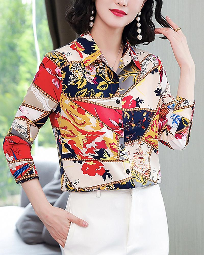 Printing Long Sleeve Loose Shirt