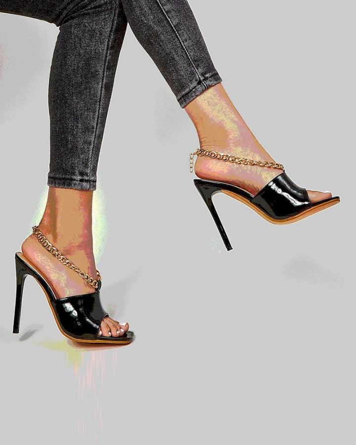 Solid Chain Patchwork Peep=toe High Heel Sandals