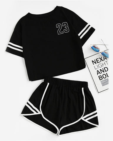 Letter Print Short Sleeve T-shirts With Shorts Suit Sets