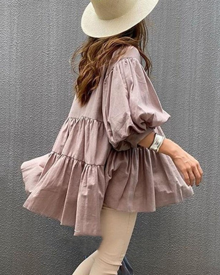 Solid Skinny Waist Long Sleeve Blouse