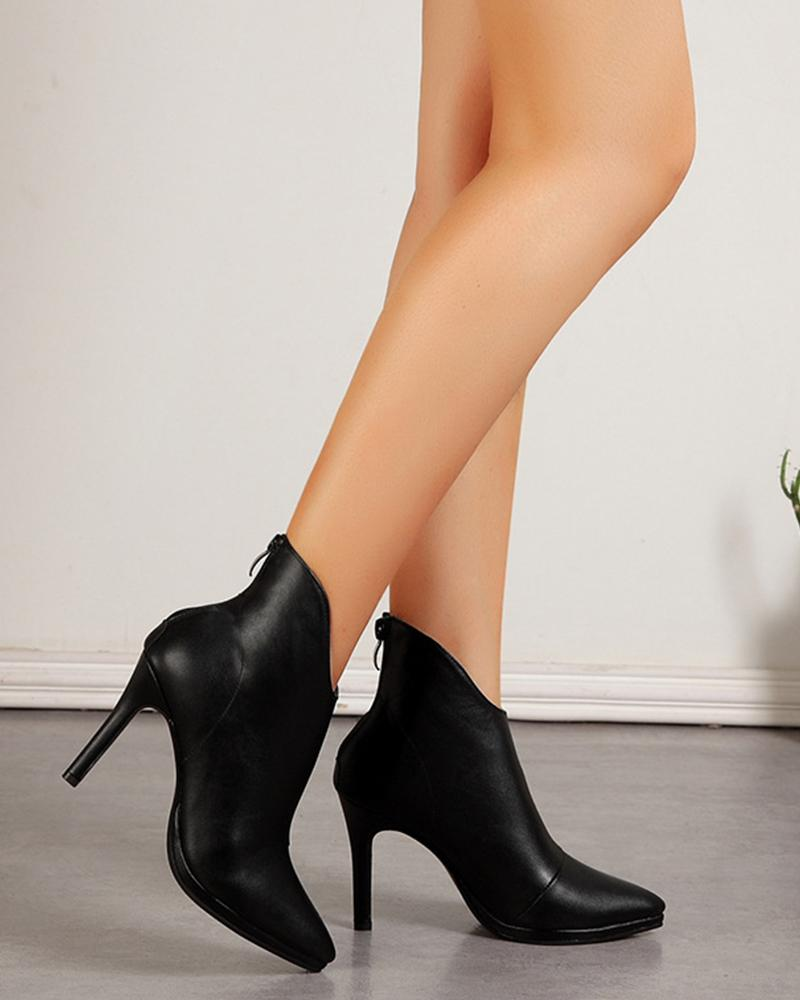 Solid High Heel Pointed Ankle Boots