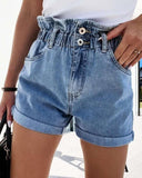 Solid Elastic Waist High Waist Denim Shorts