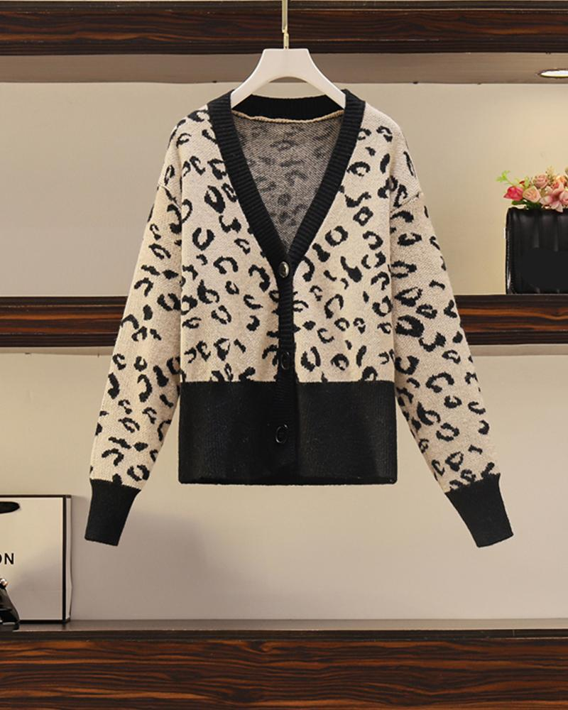 Leopard Long Sleeve Loose Cardigan