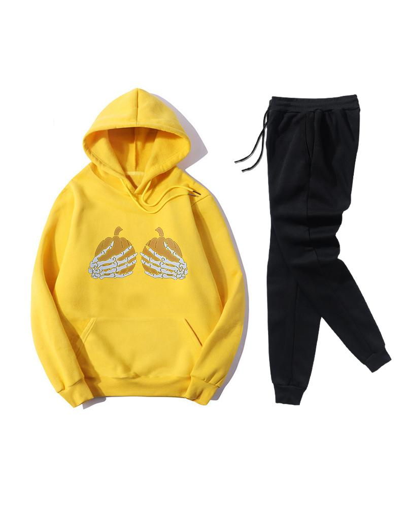 Skeleton Hands Print Long Sleeve Hoodies Sweatshirts Suit Sets