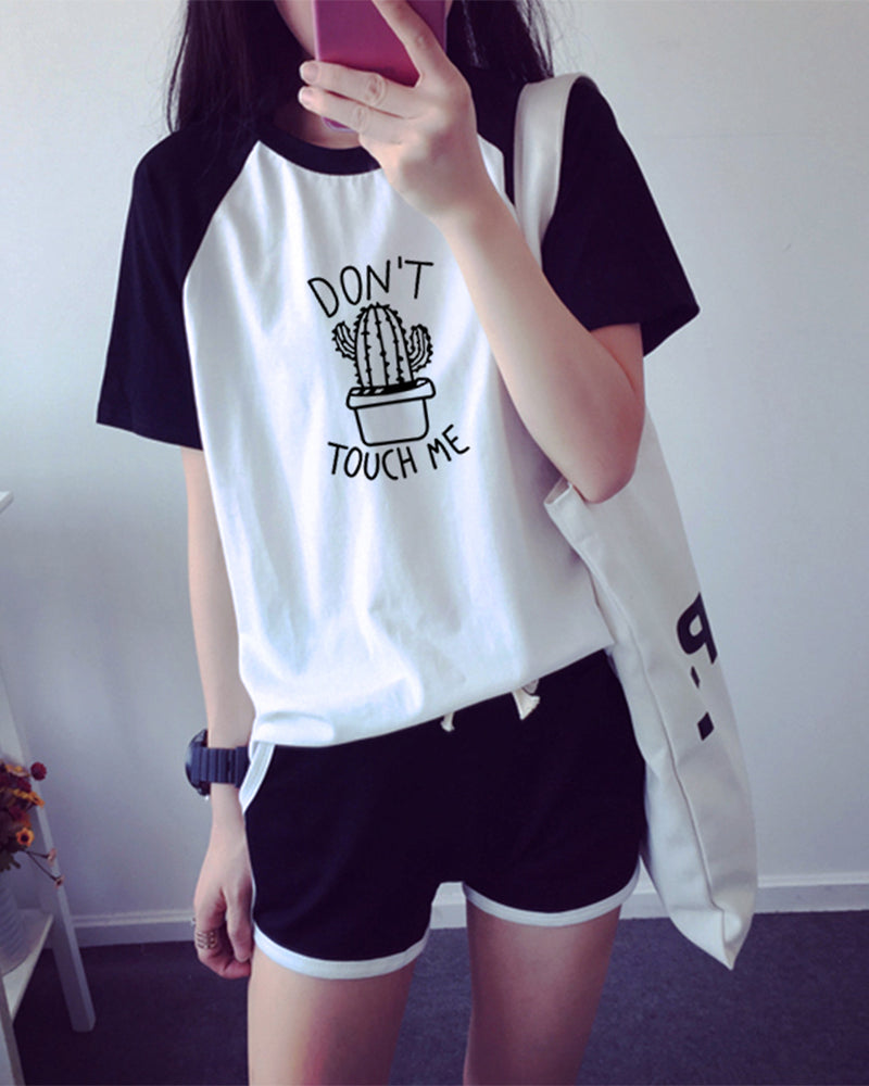 Cartoon Pritning Short Sleeve T-shirts With Shorts Suit Sets