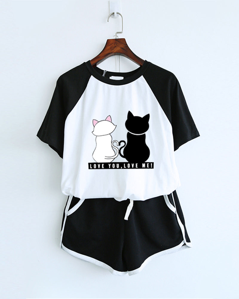 Catty Printing Short Sleeve T-shirt With Shorts Suit Sets