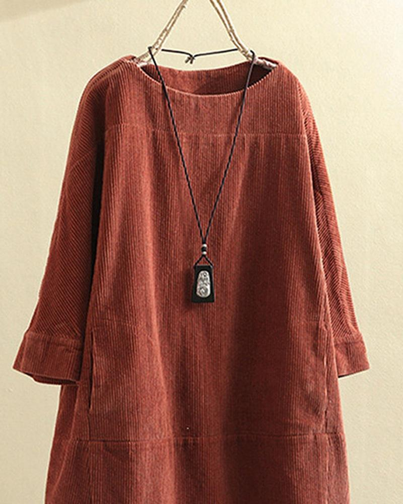 Solid Color Long Sleeve Loose Dress
