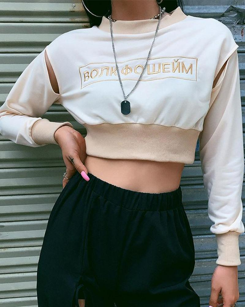 Embroidered Letters Crop Sweatshirt