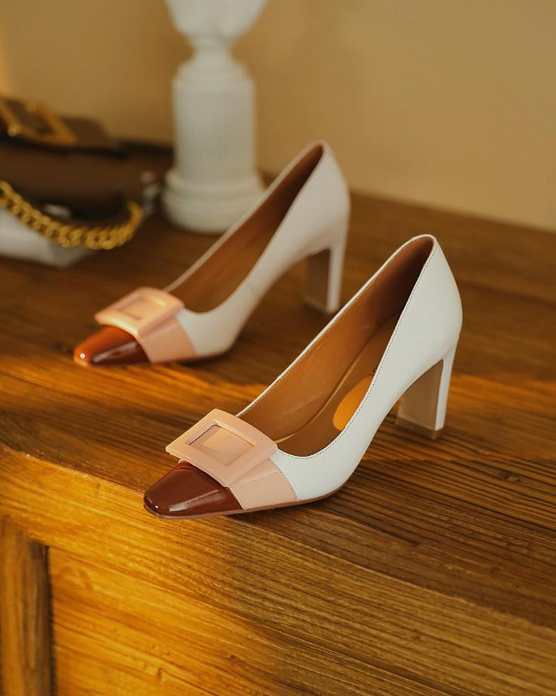 Color Block Leather High Heels