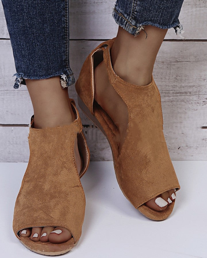 Solid Peep-toe Cut-out Wedge Suede Sandals