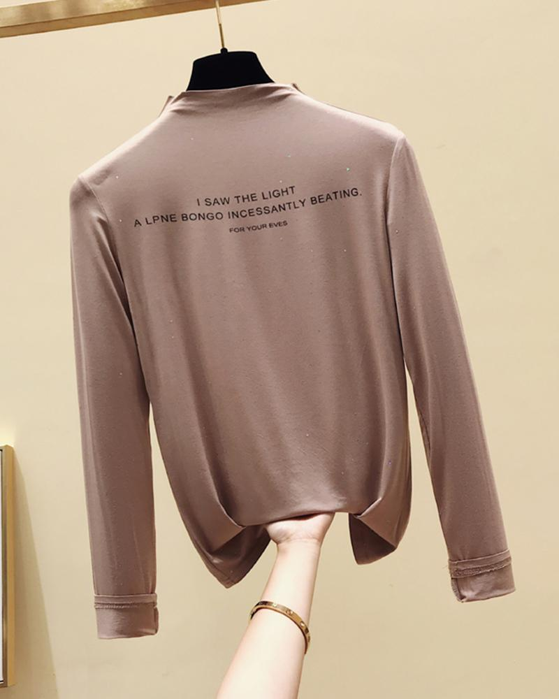 Letter Printing Long Sleeve Blouse