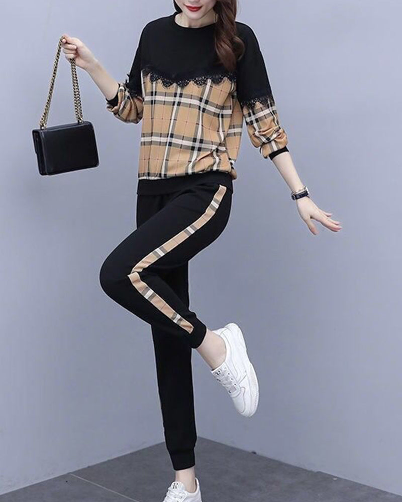 Stitching Long Sleeve Loose Suit Sets