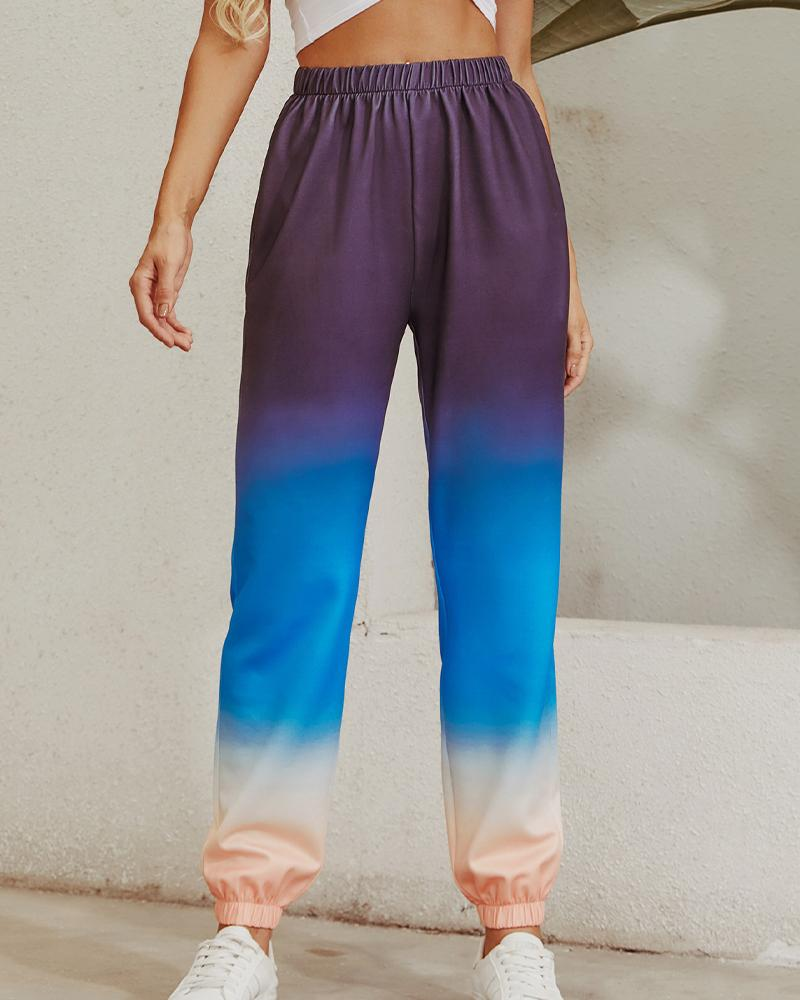 Colorblock Gradient Loose High Waist Sporty Pants