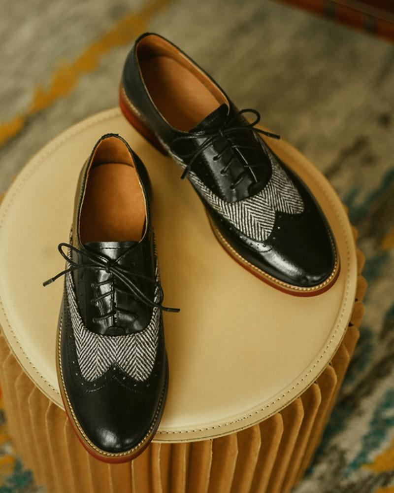 Colorblock Lace-up Cut-out Leather Oxford Shoes