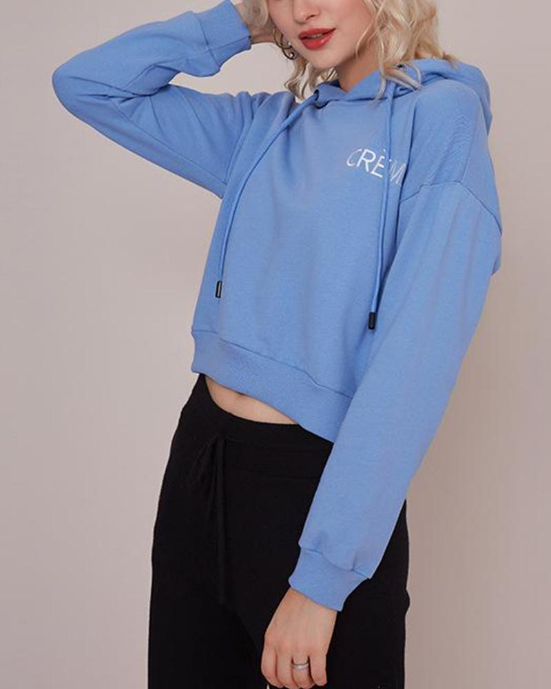 Embroidered Letter Long Sleeve Hoodie