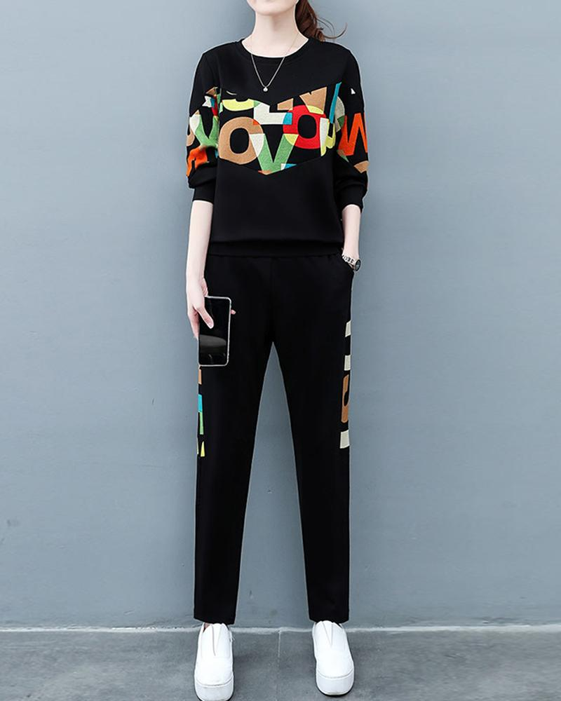 Multicolor Letter Printing Long Sleeve T-shirts With Pants Suit Sets