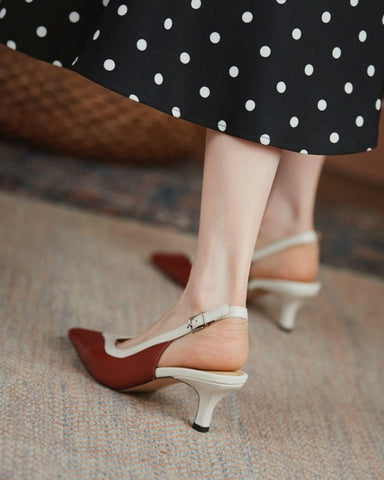 Pointed-toe Color Block PU Leather High Heels