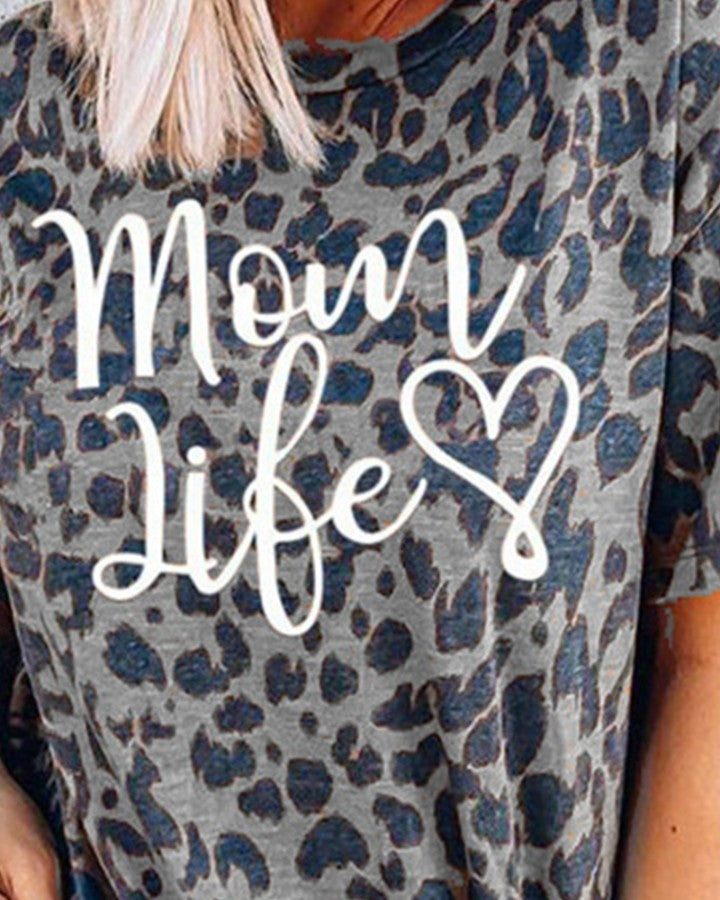 Letter Print Leopard Short Sleeve Loose T-shirts