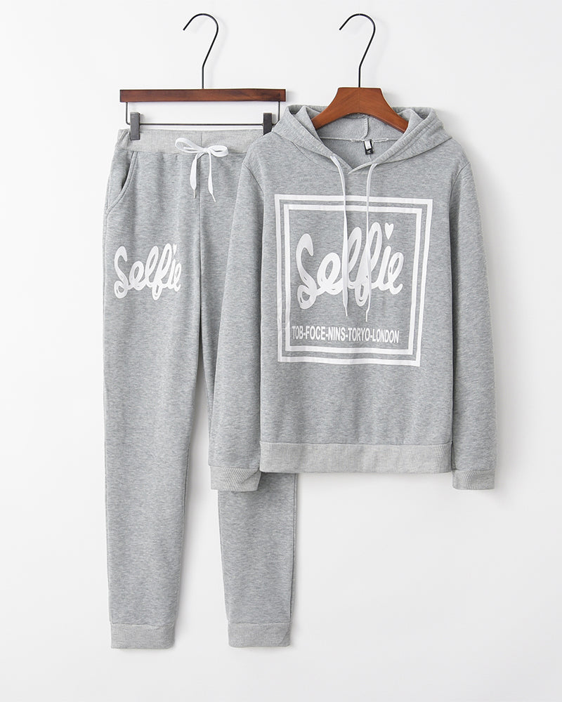 Letter Print Long Sleeve Hooded Sweatshirts With Pants Suit Sets