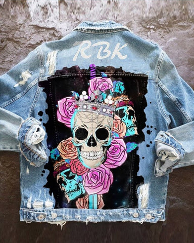 Graffiti Skull And Letter Print Long Sleeve Denim Coat