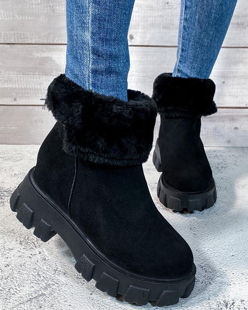 Solid Fluffy Round-toe Snow Boots