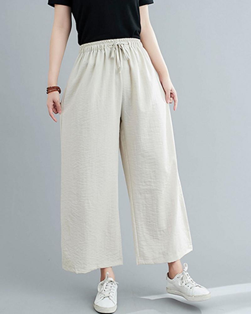 Brief Solid Drawstring Wide-leg Pants